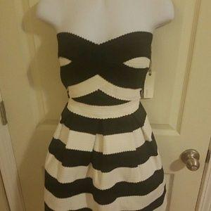 Striped bandage skater dress